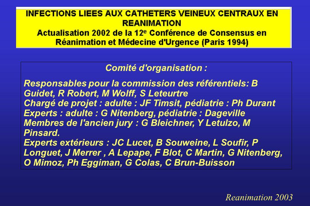 Comité d'organisation : Responsables pour la commission des référentiels: B Guidet, R Robert, M Wolff, S Leteurtre Chargé de projet : adulte : JF Tims