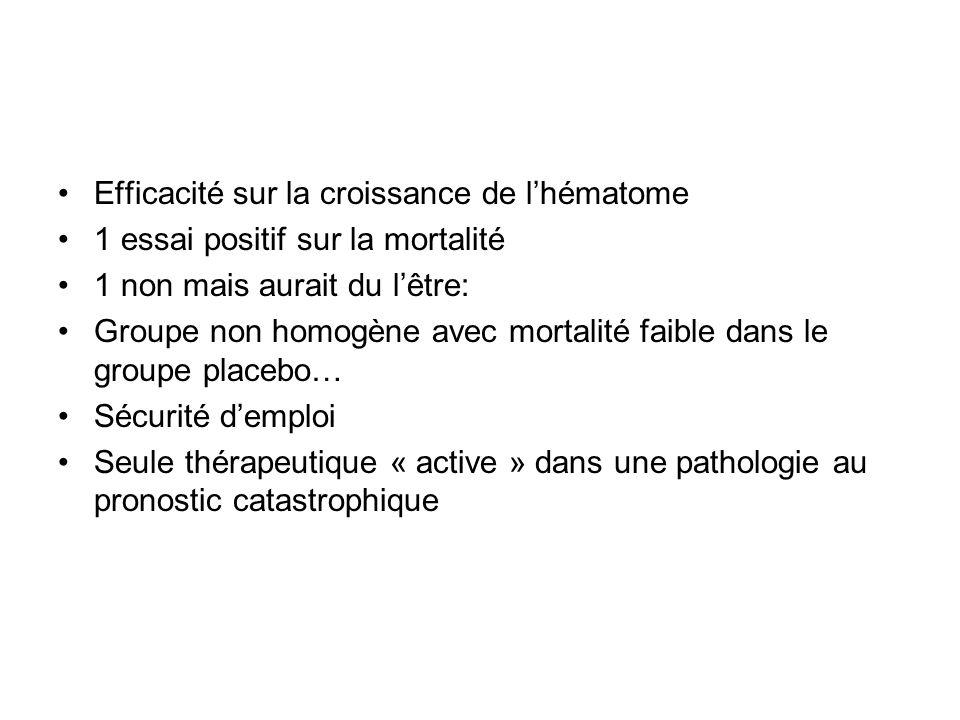Efficacité sur la croissance de lhématome 1 essai positif sur la mortalité 1 non mais aurait du lêtre: Groupe non homogène avec mortalité faible dans