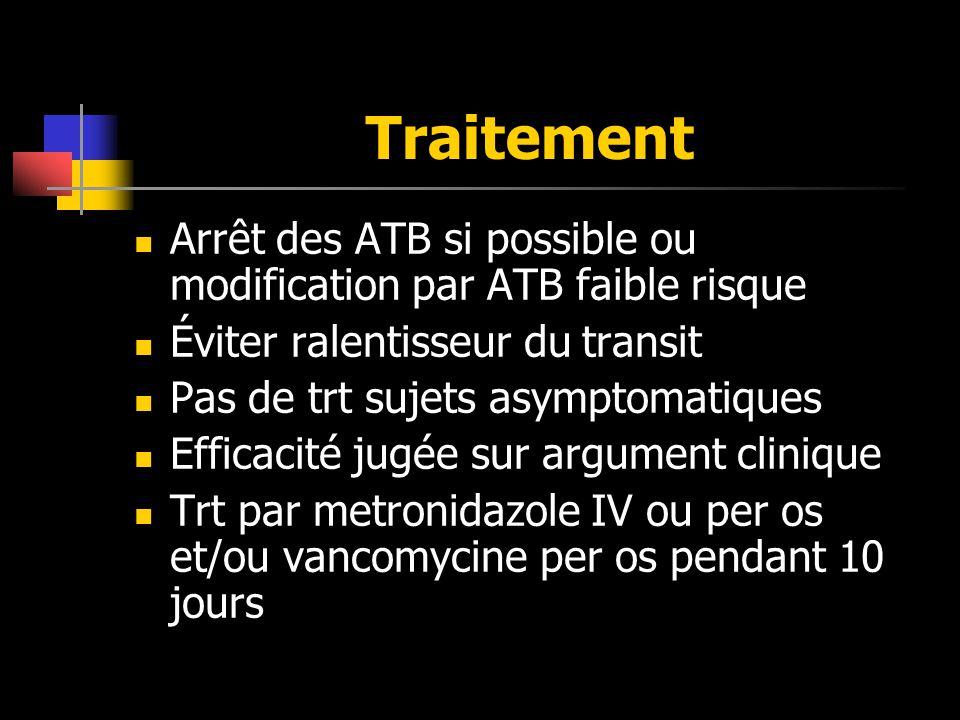 Traitement Arrêt des ATB si possible ou modification par ATB faible risque Éviter ralentisseur du transit Pas de trt sujets asymptomatiques Efficacité