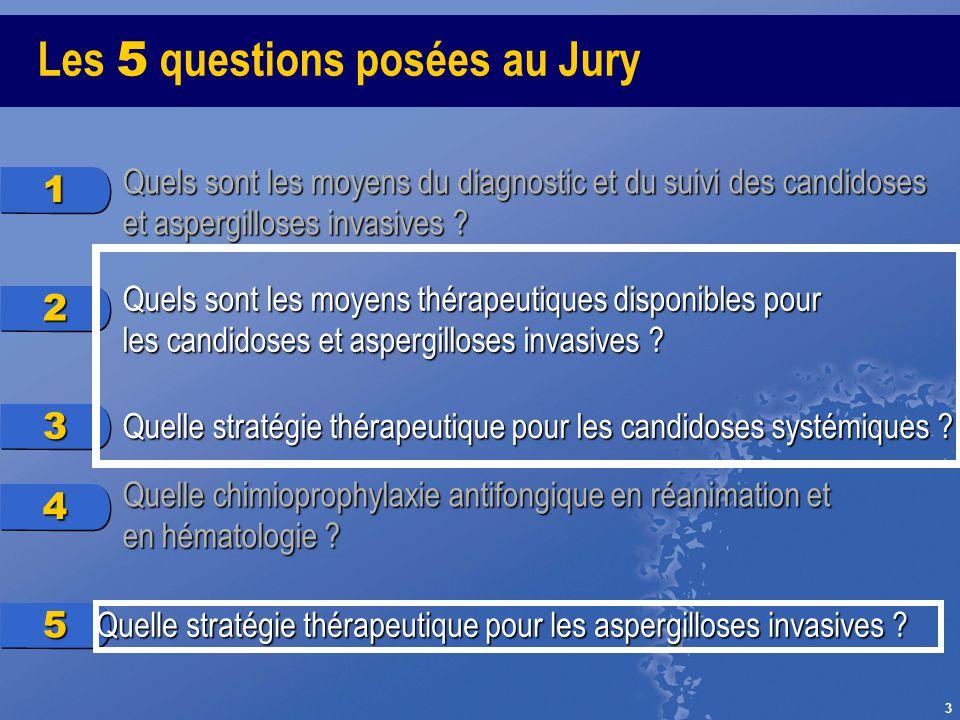 3 Les 5 questions posées au Jury 1 Quels sont les moyens du diagnostic et du suivi des candidoses et aspergilloses invasives ? 2 Quels sont les moyens