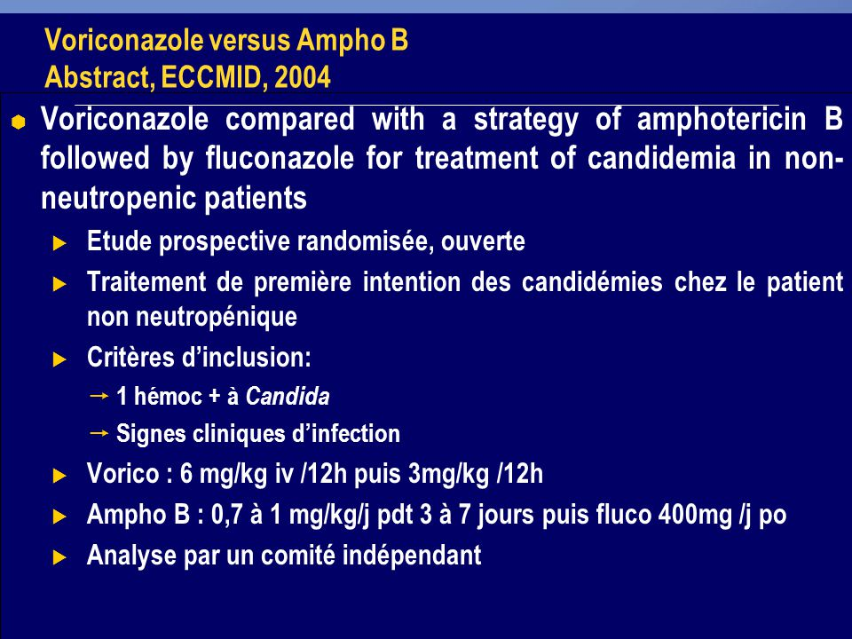 30 Voriconazole versus Ampho B Abstract, ECCMID, 2004 Voriconazole compared with a strategy of amphotericin B followed by fluconazole for treatment of