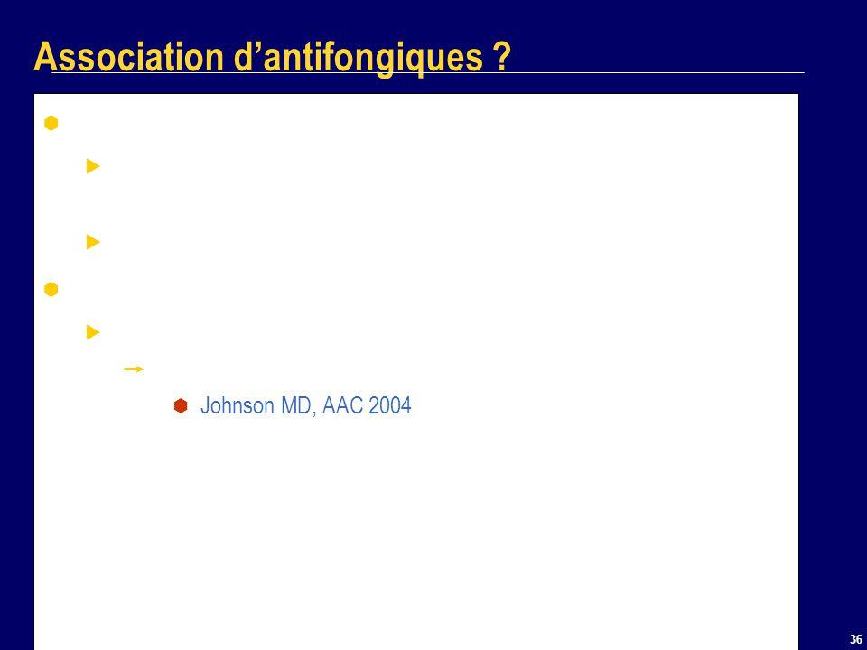 36 Association dantifongiques ? Fluco + ampho B Documentation clinique dun effet au moins équivalent à la monothérapie Pas dantagonisme Echinocandines