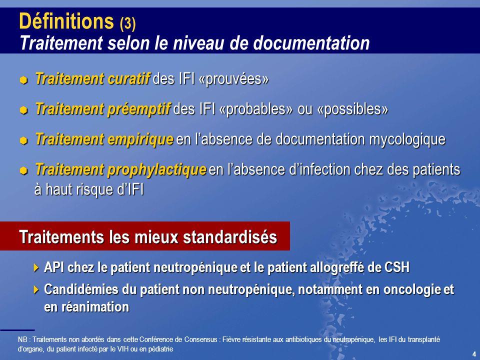 4 Définitions (3) Traitement selon le niveau de documentation API chez le patient neutropénique et le patient allogreffé de CSH API chez le patient ne