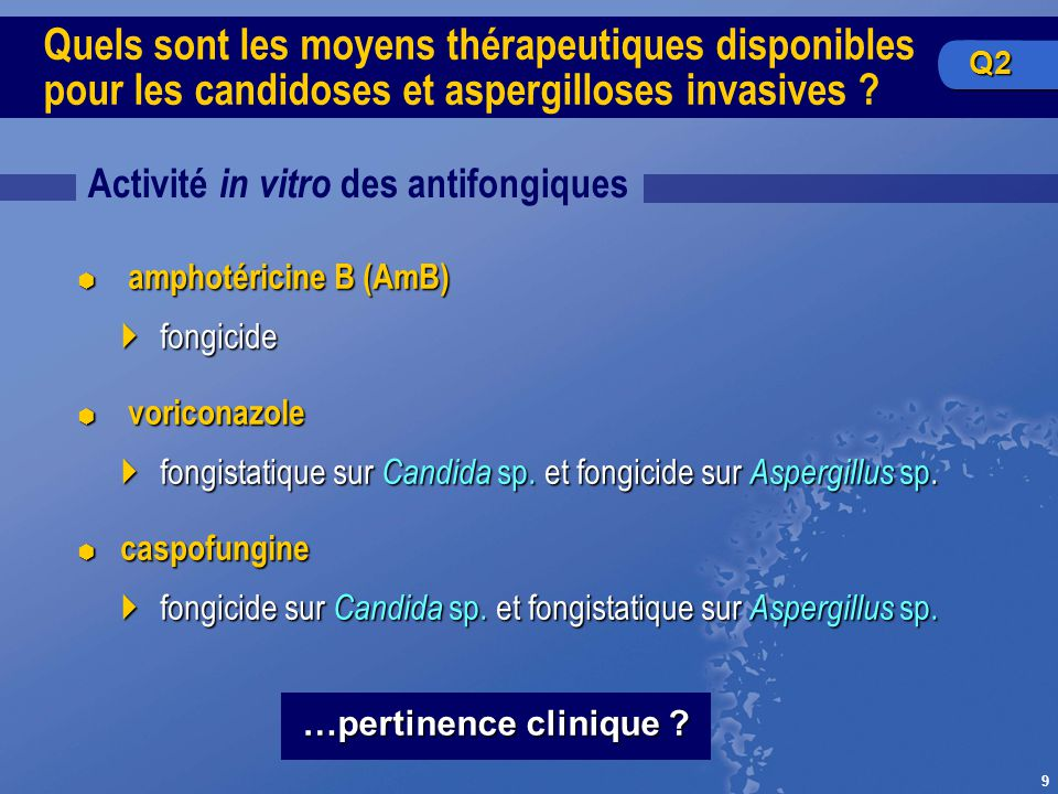 9 Quels sont les moyens thérapeutiques disponibles pour les candidoses et aspergilloses invasives ? Activité in vitro des antifongiques …pertinence cl