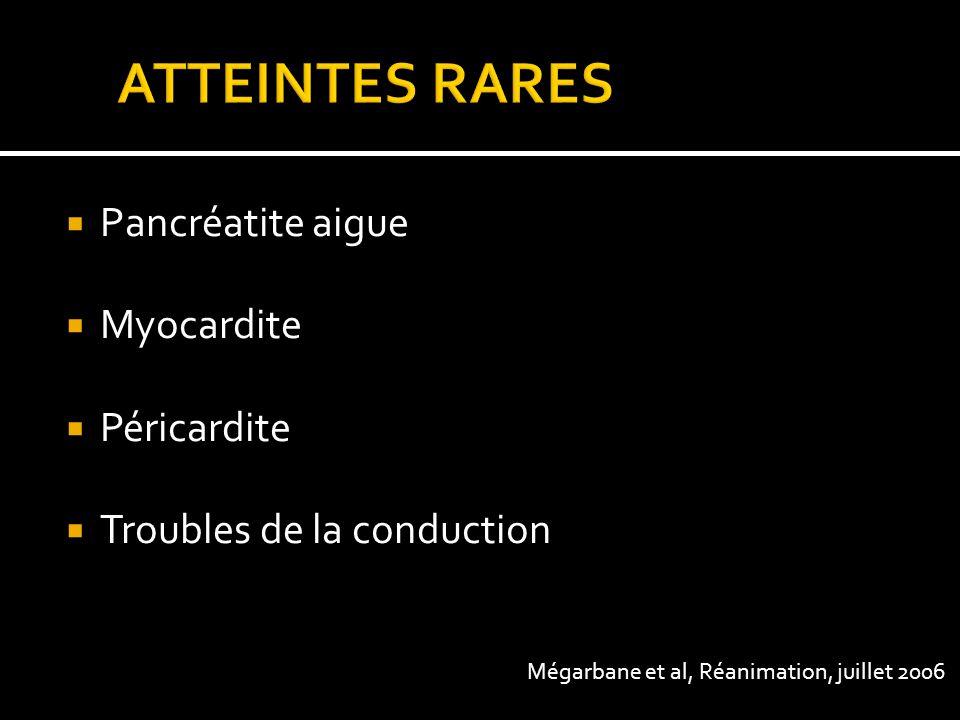 Pancréatite aigue Myocardite Péricardite Troubles de la conduction Mégarbane et al, Réanimation, juillet 2006