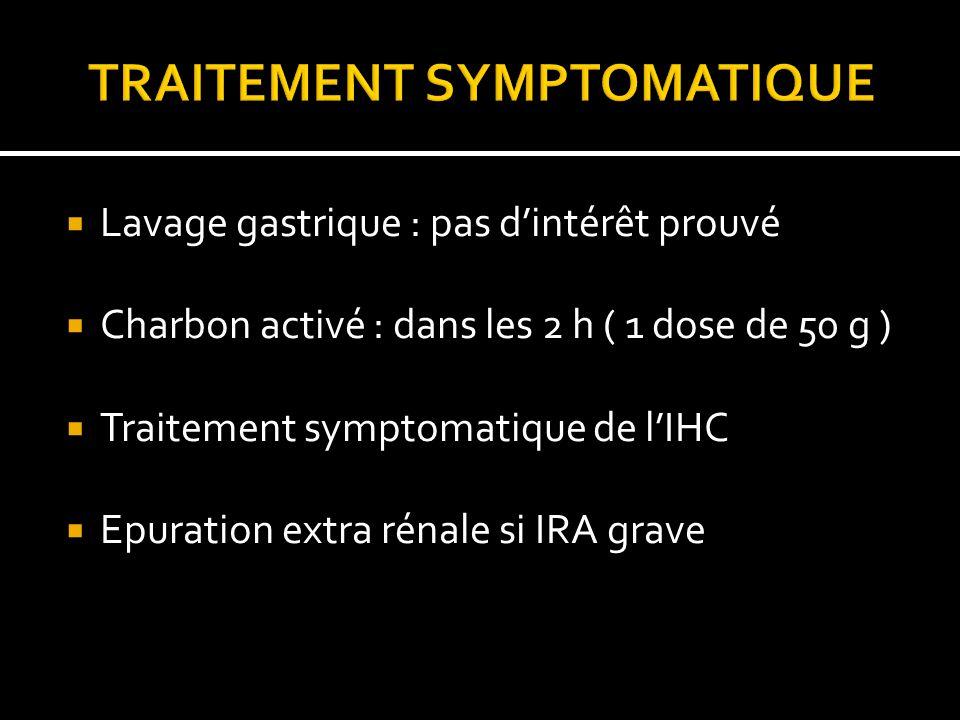 Lavage gastrique : pas dintérêt prouvé Charbon activé : dans les 2 h ( 1 dose de 50 g ) Traitement symptomatique de lIHC Epuration extra rénale si IRA