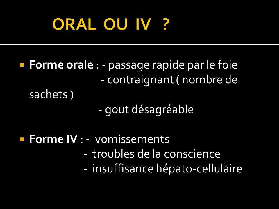 Forme orale : - passage rapide par le foie - contraignant ( nombre de sachets ) - gout désagréable Forme IV : - vomissements - troubles de la conscien