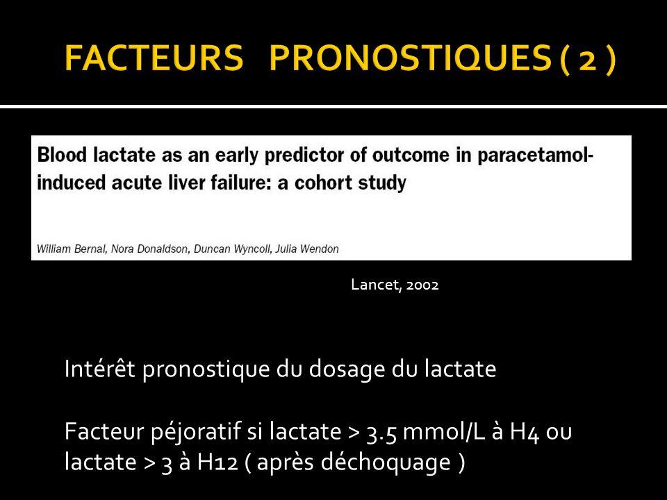 Lancet, 2002 Intérêt pronostique du dosage du lactate Facteur péjoratif si lactate > 3.5 mmol/L à H4 ou lactate > 3 à H12 ( après déchoquage )