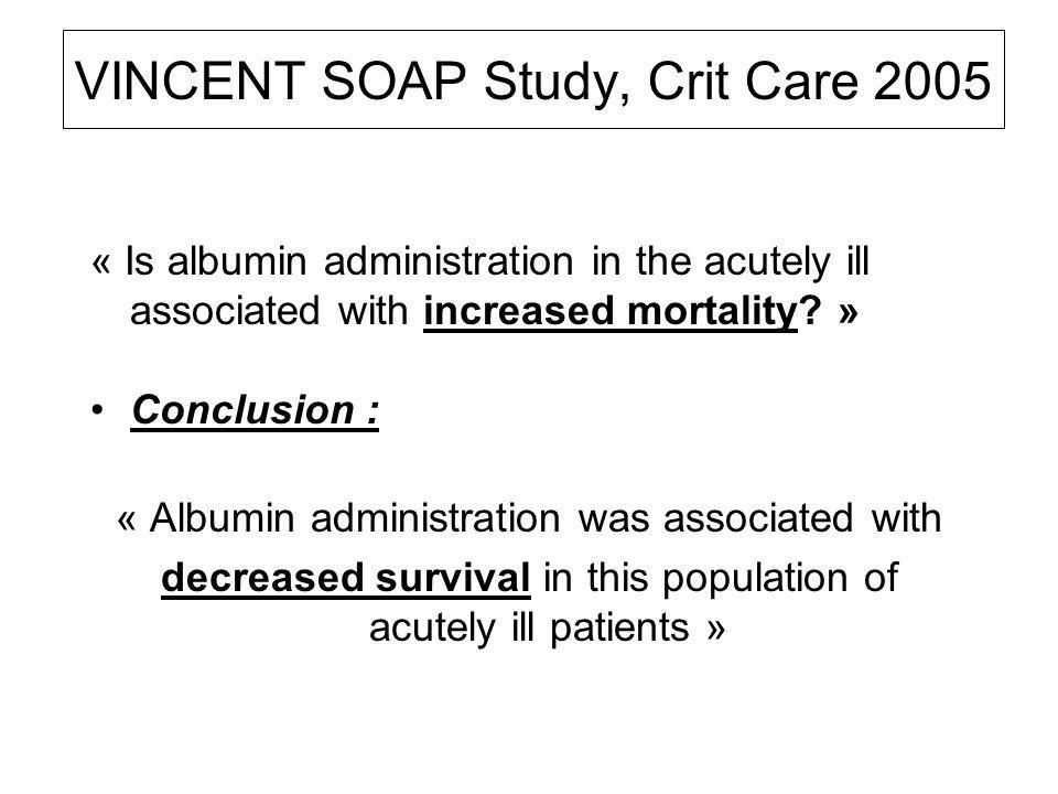 VINCENT SOAP Study, Crit Care 2005 « Is albumin administration in the acutely ill associated with increased mortality.