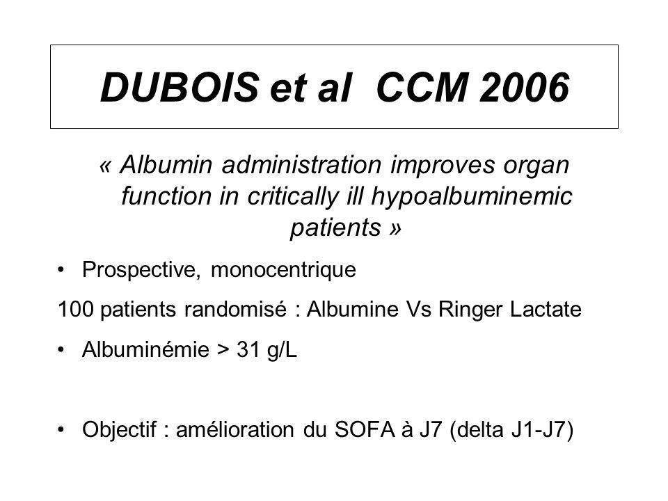 DUBOIS et al CCM 2006 « Albumin administration improves organ function in critically ill hypoalbuminemic patients » Prospective, monocentrique 100 pat