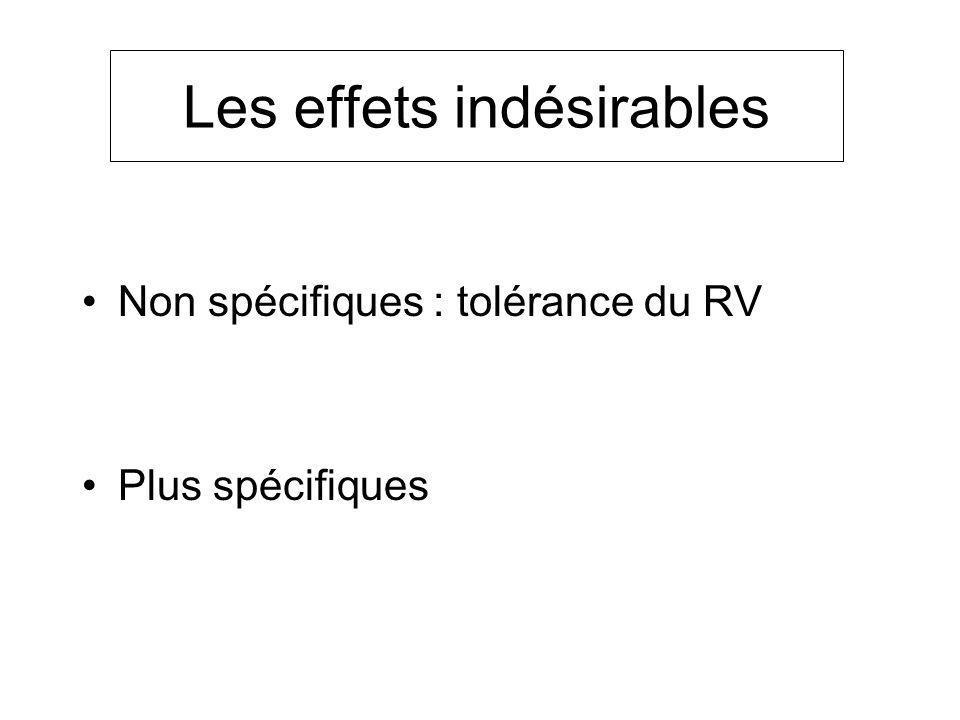 Les effets indésirables Non spécifiques : tolérance du RV Plus spécifiques