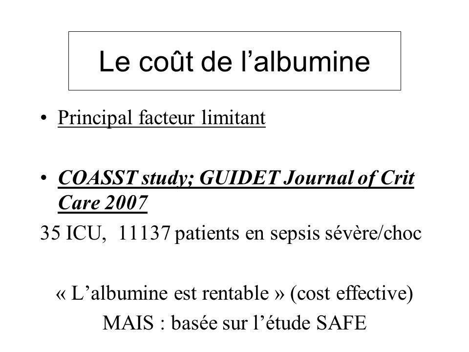 Le coût de lalbumine Principal facteur limitant COASST study; GUIDET Journal of Crit Care 2007 35 ICU, 11137 patients en sepsis sévère/choc « Lalbumin