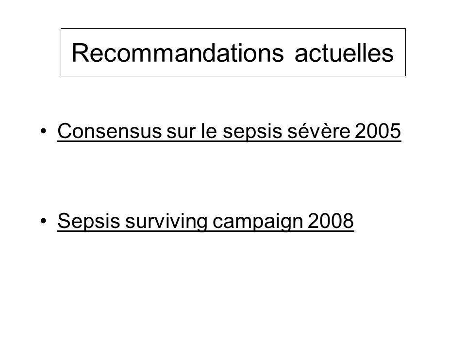 Recommandations actuelles Consensus sur le sepsis sévère 2005 Sepsis surviving campaign 2008