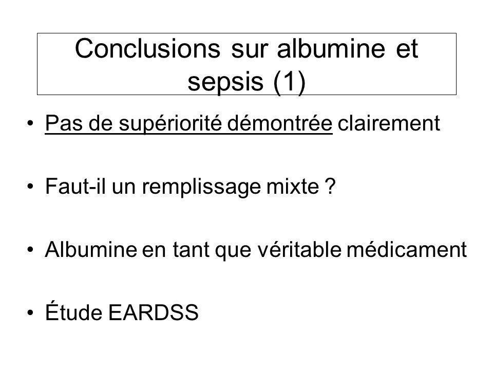 Conclusions sur albumine et sepsis (1) Pas de supériorité démontrée clairement Faut-il un remplissage mixte ? Albumine en tant que véritable médicamen