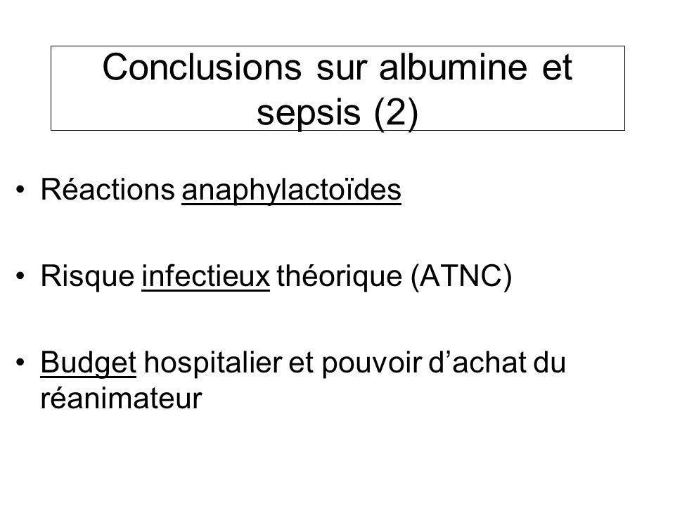 Réactions anaphylactoïdes Risque infectieux théorique (ATNC) Budget hospitalier et pouvoir dachat du réanimateur Conclusions sur albumine et sepsis (2