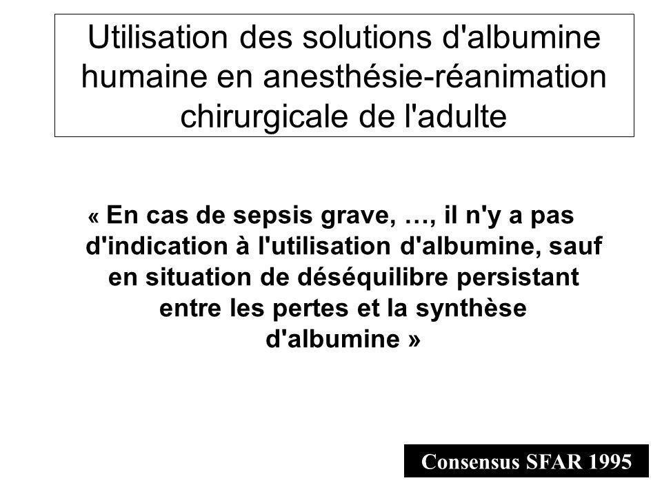 Utilisation des solutions d'albumine humaine en anesthésie-réanimation chirurgicale de l'adulte « En cas de sepsis grave, …, il n'y a pas d'indication