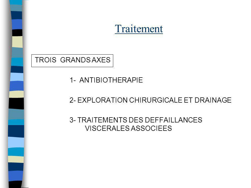 Traitement TROIS GRANDS AXES 1- ANTIBIOTHERAPIE 2- EXPLORATION CHIRURGICALE ET DRAINAGE 3- TRAITEMENTS DES DEFFAILLANCES VISCERALES ASSOCIEES
