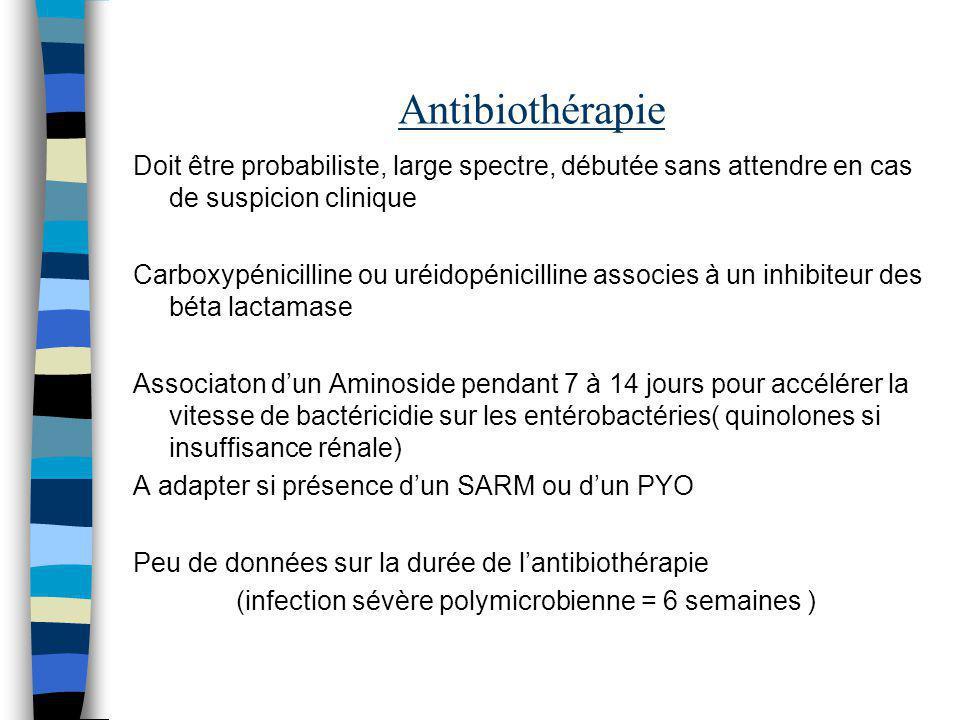 Antibiothérapie Doit être probabiliste, large spectre, débutée sans attendre en cas de suspicion clinique Carboxypénicilline ou uréidopénicilline asso