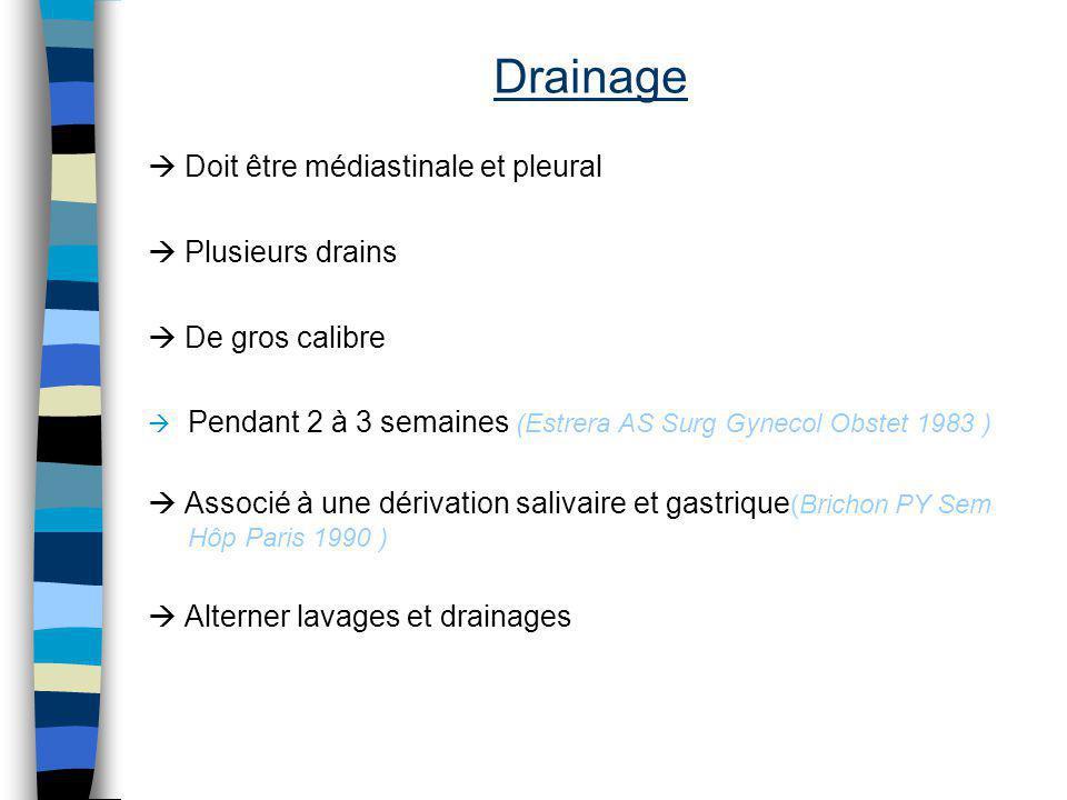 Drainage Doit être médiastinale et pleural Plusieurs drains De gros calibre Pendant 2 à 3 semaines (Estrera AS Surg Gynecol Obstet 1983 ) Associé à un