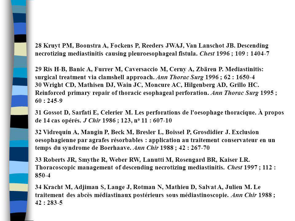28 Kruyt PM, Boonstra A, Fockens P, Reeders JWAJ, Van Lanschot JB. Descending necrotizing mediastinitis causing pleuroesophageal fistula. Chest 1996 ;