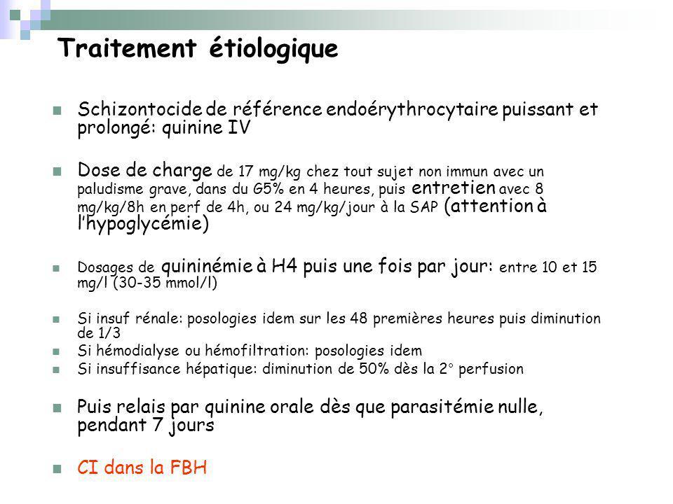 Traitement étiologique Schizontocide de référence endoérythrocytaire puissant et prolongé: quinine IV Dose de charge de 17 mg/kg chez tout sujet non immun avec un paludisme grave, dans du G5% en 4 heures, puis entretien avec 8 mg/kg/8h en perf de 4h, ou 24 mg/kg/jour à la SAP (attention à lhypoglycémie) Dosages de quininémie à H4 puis une fois par jour: entre 10 et 15 mg/l (30-35 mmol/l) Si insuf rénale: posologies idem sur les 48 premières heures puis diminution de 1/3 Si hémodialyse ou hémofiltration: posologies idem Si insuffisance hépatique: diminution de 50% dès la 2° perfusion Puis relais par quinine orale dès que parasitémie nulle, pendant 7 jours CI dans la FBH
