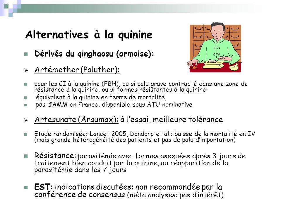 Alternatives à la quinine Dérivés du qinghaosu (armoise): Artémether (Paluther): pour les CI à la quinine (FBH), ou si palu grave contracté dans une zone de résistance à la quinine, ou si formes résistantes à la quinine: équivalent à la quinine en terme de mortalité, pas dAMM en France, disponible sous ATU nominative Artesunate (Arsumax): à lessai, meilleure tolérance Etude randomisée: Lancet 2005, Dondorp et al.: baisse de la mortalité en IV (mais grande hétérogénéité des patients et pas de palu dimportation) Résistance: parasitémie avec formes asexuées après 3 jours de traitement bien conduit par la quinine, ou réapparition de la parasitémie dans les 7 jours EST: indications discutées: non recommandée par la conférence de consensus (méta analyses: pas dintérêt)