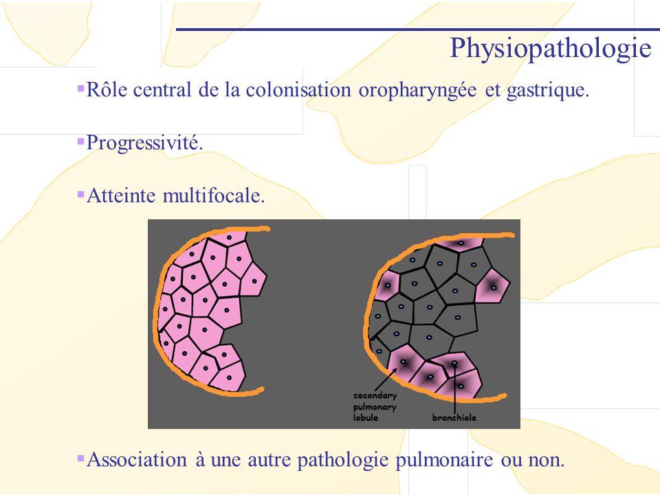 Physiopathologie Rôle central de la colonisation oropharyngée et gastrique. Progressivité. Atteinte multifocale. Association à une autre pathologie pu