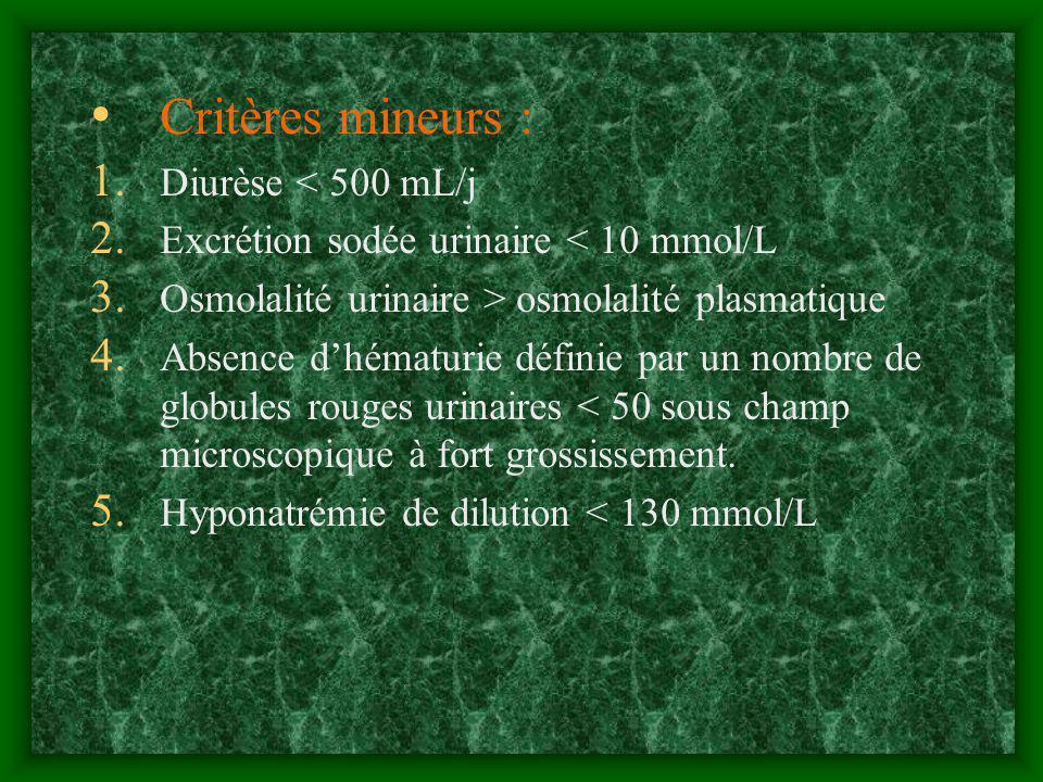 Critères mineurs : 1. Diurèse < 500 mL/j 2. Excrétion sodée urinaire < 10 mmol/L 3. Osmolalité urinaire > osmolalité plasmatique 4. Absence dhématurie