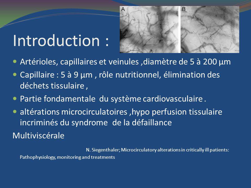 Spécificités de la microcirculation La PO2 y est plus basse que dans les artères la microcirculation est altérée dans le sepsis,Ladministration dendotoxine, la péritonite, induisent une diminution de la densité de perfusion capillaire,une augmentation du nombre de vaisseaux non perfusés,une hétérogénéité de la distribution spatiale et temporelle de la perfusion capillaire multiples causes peuvent être évoquées: substances relarguées au cours du sepsis leTNF, lendotheline peuvent causer une vasoconstriction microvasculaire, loxyde nitrique (NO) semble avoir des propriétés protectrices des microthrombi, dont la formation est facilitée au cours du sepsis, pourraient occlure transitoirement les micro vaisseaux le sepsis altère la déformabilité des leucocytes et des globules rouges et favorise ladhésion des leucocytes aux cellules endothéliales loedème interstitiel pourrait comprimer les capillaires même D.