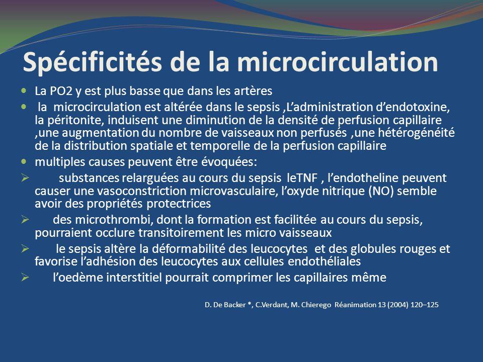 Spécificités de la microcirculation La PO2 y est plus basse que dans les artères la microcirculation est altérée dans le sepsis,Ladministration dendot