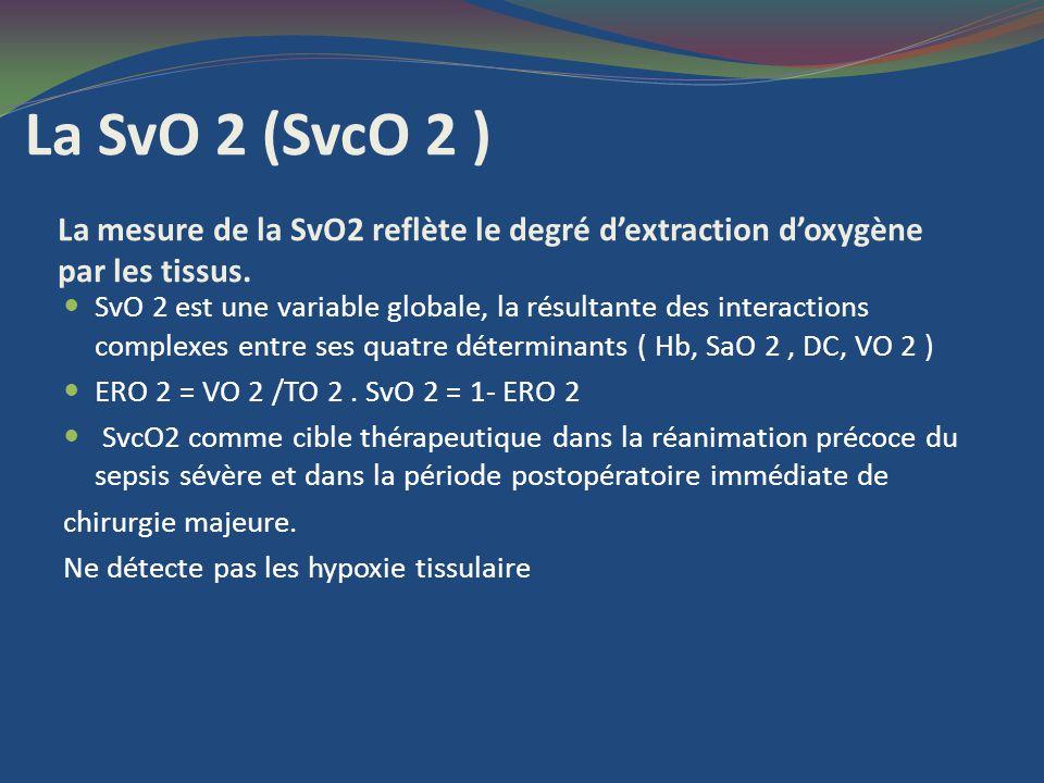 Test docclusion vasculaire ( TOV ) :variables dynamique Le brassard pneumatique est gonflé 50 mm Hg > PAS blocage du flux sortant et entrant sanguin HbO 2 StO2 : calcule de la RdesatStO2 en %/sec pour apprécier la m VO2.