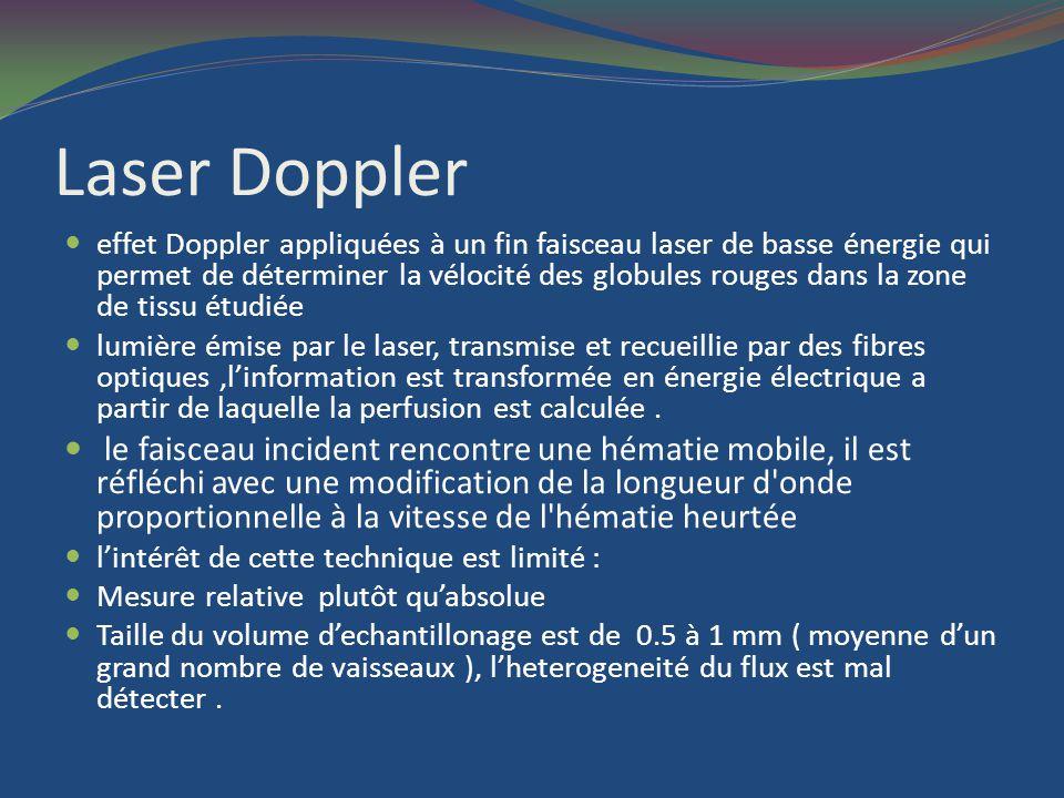 Laser Doppler effet Doppler appliquées à un fin faisceau laser de basse énergie qui permet de déterminer la vélocité des globules rouges dans la zone