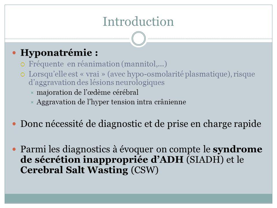 Introduction Hyponatrémie : Fréquente en réanimation (mannitol,…) Lorsquelle est « vrai » (avec hypo-osmolarité plasmatique), risque daggravation des lésions neurologiques majoration de lœdème cérébral Aggravation de lhyper tension intra crânienne Donc nécessité de diagnostic et de prise en charge rapide Parmi les diagnostics à évoquer on compte le syndrome de sécrétion inappropriée dADH (SIADH) et le Cerebral Salt Wasting (CSW)