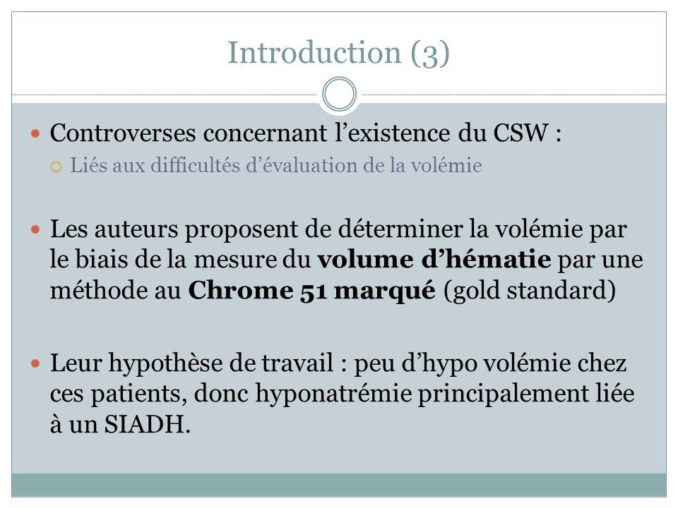 Introduction (3) Controverses concernant lexistence du CSW : Liés aux difficultés dévaluation de la volémie Les auteurs proposent de déterminer la vol