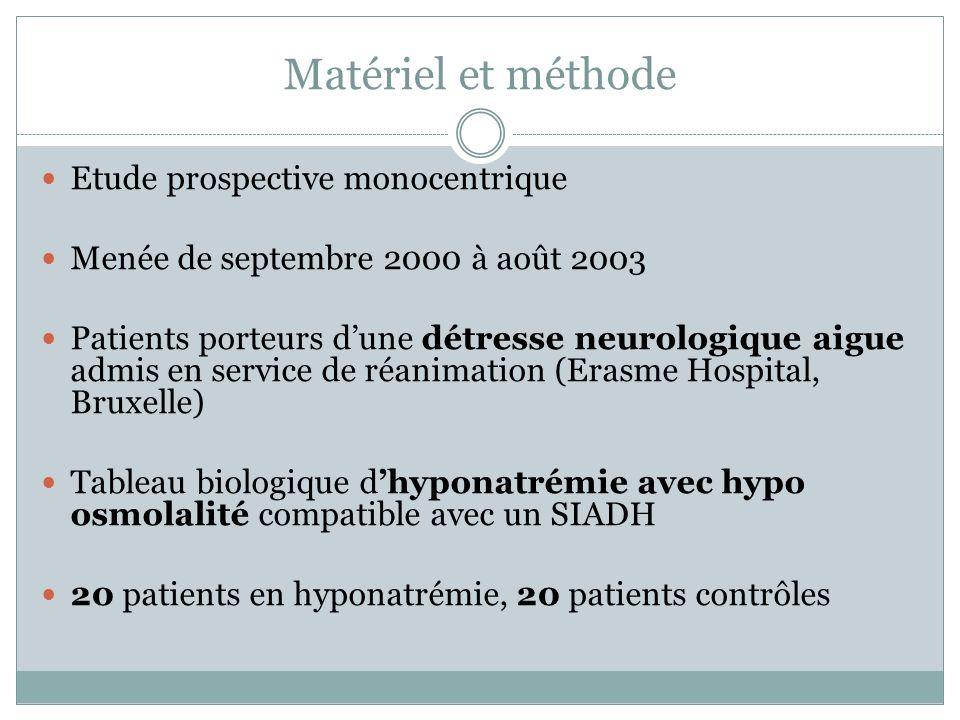 Matériel et méthode Etude prospective monocentrique Menée de septembre 2000 à août 2003 Patients porteurs dune détresse neurologique aigue admis en se