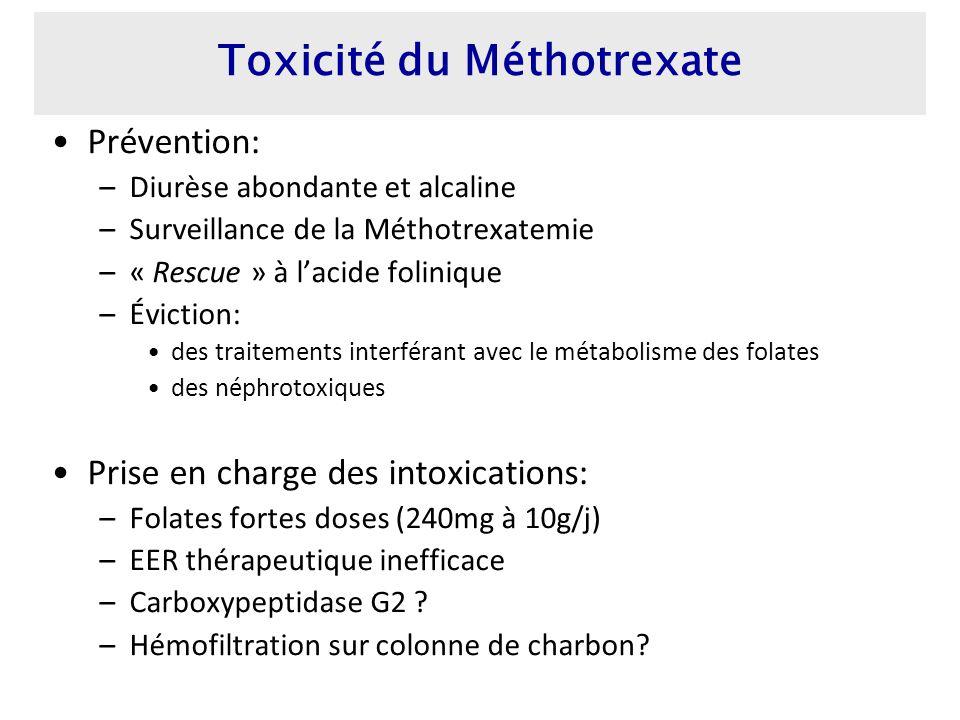 Prévention: –Diurèse abondante et alcaline –Surveillance de la Méthotrexatemie –« Rescue » à lacide folinique –Éviction: des traitements interférant avec le métabolisme des folates des néphrotoxiques Prise en charge des intoxications: –Folates fortes doses (240mg à 10g/j) –EER thérapeutique inefficace –Carboxypeptidase G2 .
