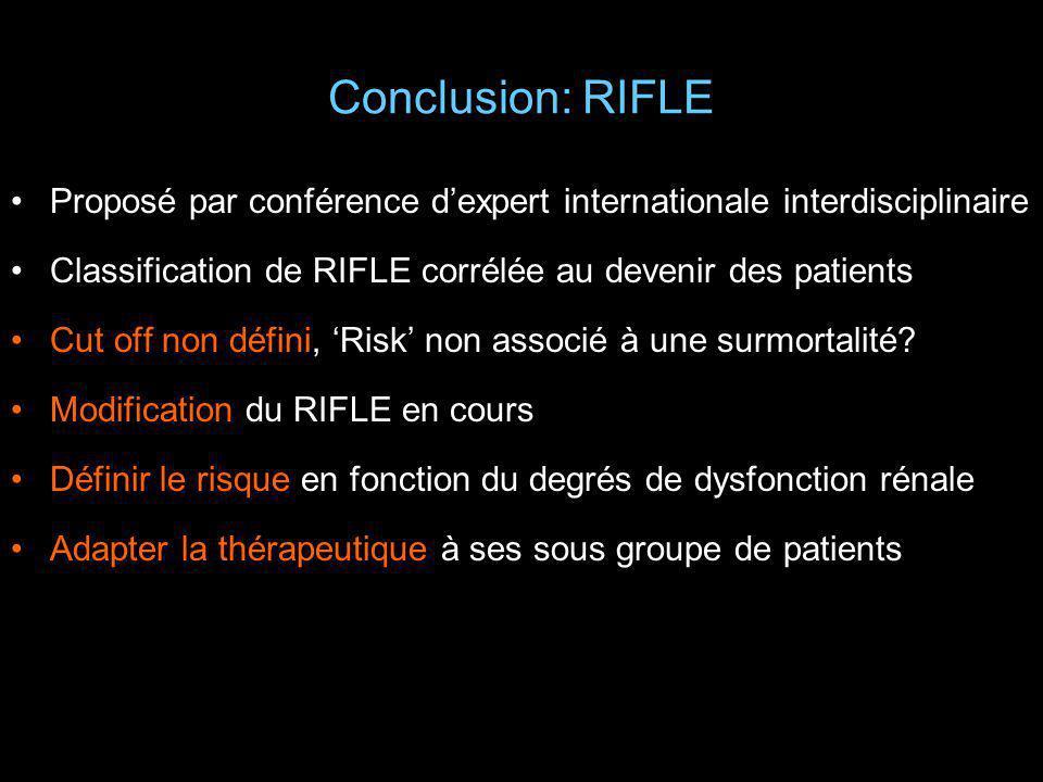 Conclusion: RIFLE Proposé par conférence dexpert internationale interdisciplinaire Classification de RIFLE corrélée au devenir des patients Cut off no