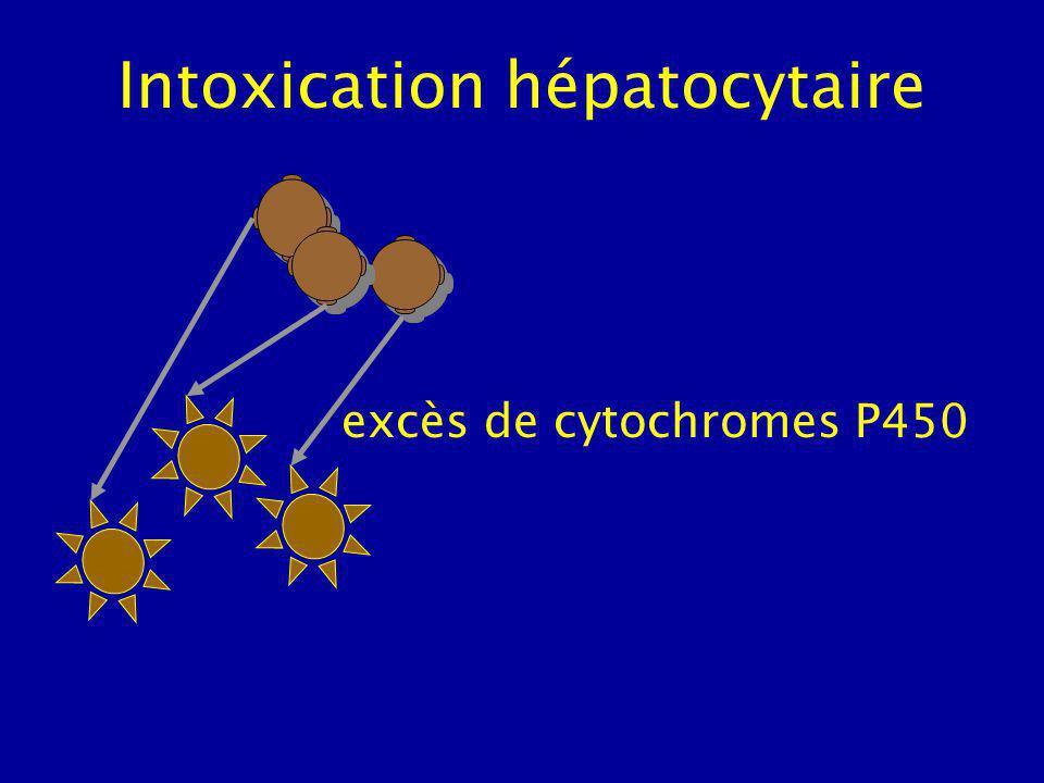 Intoxication hépatocytaire Déficit en glutathion