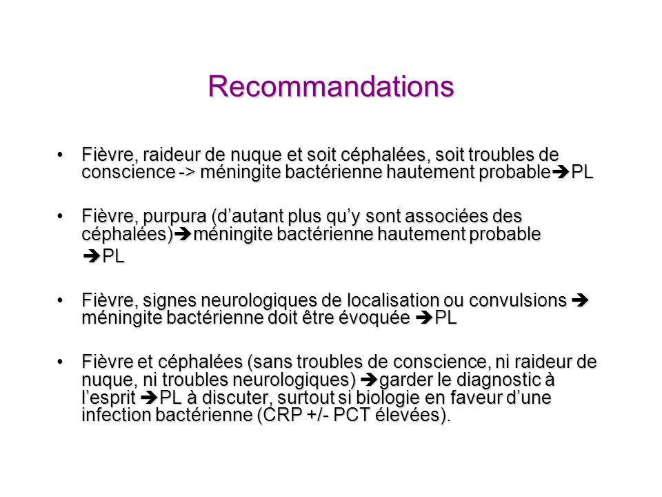 Recommandations Fièvre, raideur de nuque et soit céphalées, soit troubles de conscience -> méningite bactérienne hautement probable PLFièvre, raideur