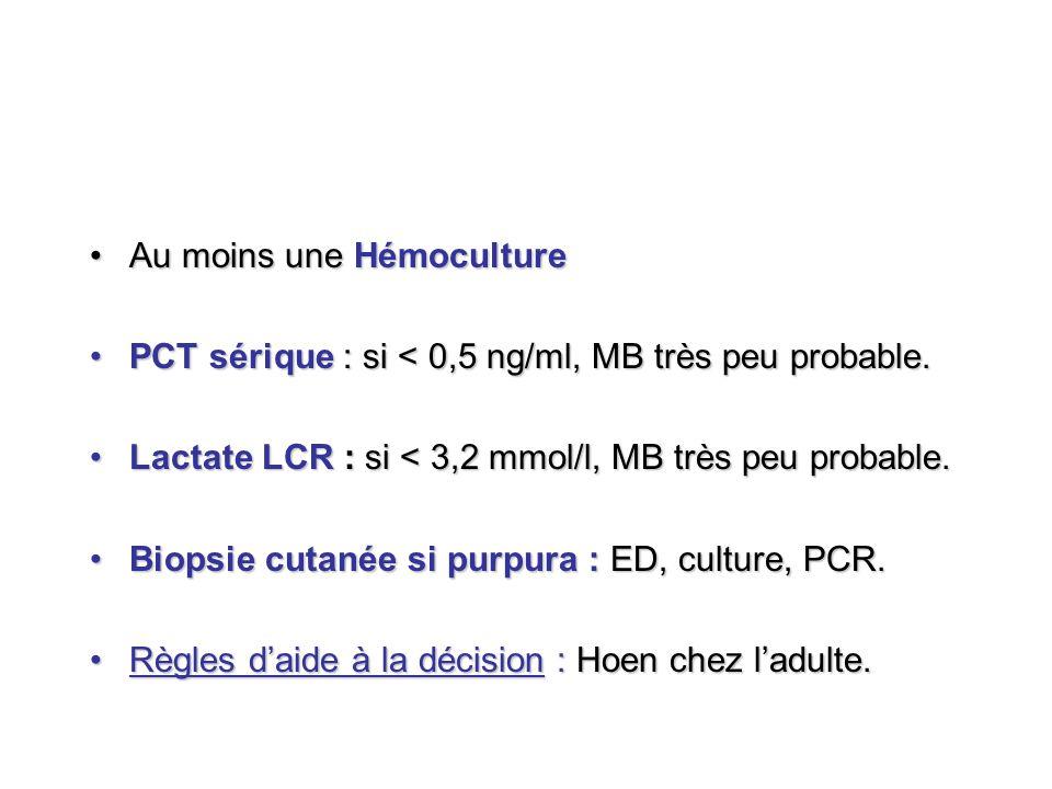 Au moins une HémocultureAu moins une Hémoculture PCT sérique : si < 0,5 ng/ml, MB très peu probable.PCT sérique : si < 0,5 ng/ml, MB très peu probable