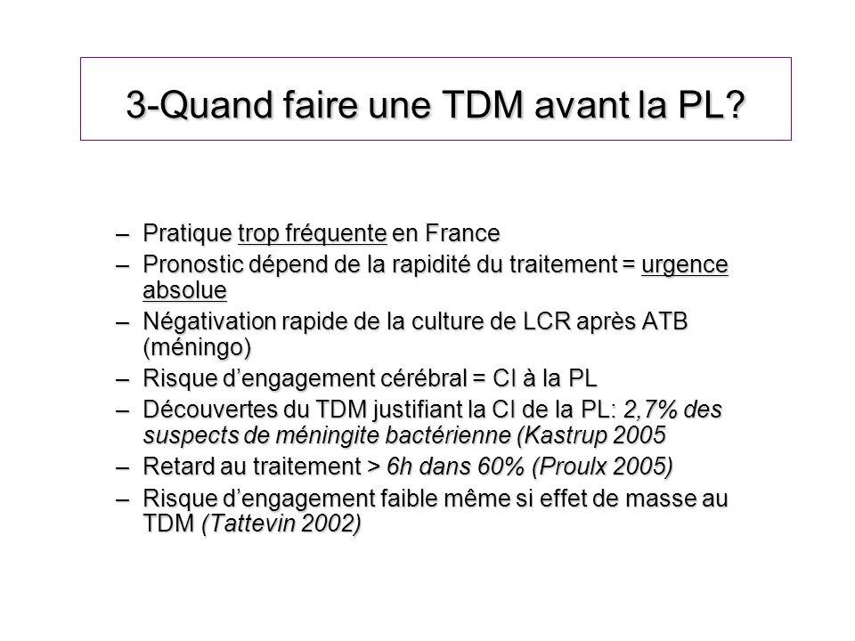 3-Quand faire une TDM avant la PL? –Pratique trop fréquente en France –Pronostic dépend de la rapidité du traitement = urgence absolue –Négativation r