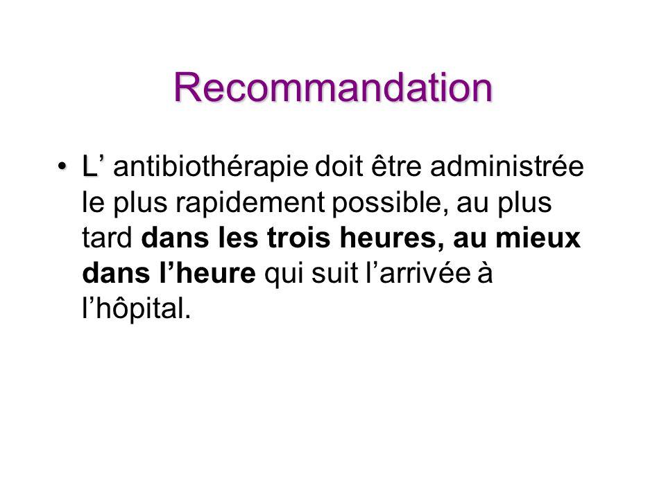 Recommandation LL antibiothérapie doit être administrée le plus rapidement possible, au plus tard dans les trois heures, au mieux dans lheure qui suit