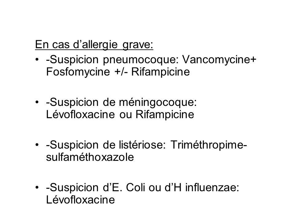 En cas dallergie grave: -Suspicion pneumocoque: Vancomycine+ Fosfomycine +/- Rifampicine -Suspicion de méningocoque: Lévofloxacine ou Rifampicine -Sus