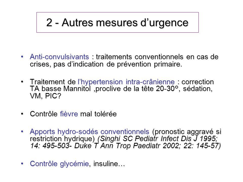 2 - Autres mesures durgence Anti-convulsivants : traitements conventionnels en cas de crises, pas dindication de prévention primaire.Anti-convulsivant
