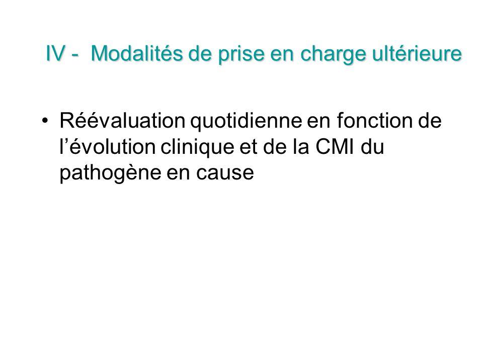 IV - Modalités de prise en charge ultérieure Réévaluation quotidienne en fonction de lévolution clinique et de la CMI du pathogène en cause