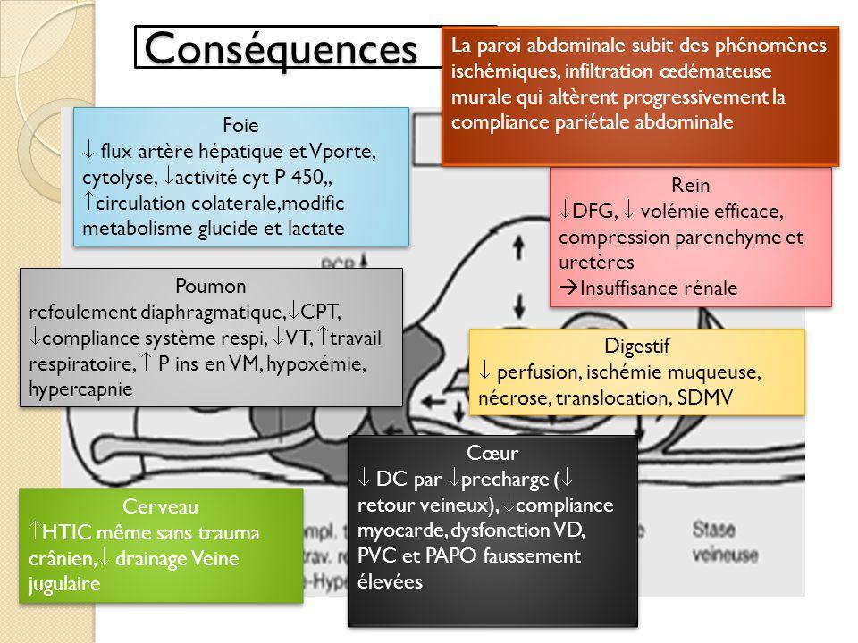 Conséquences Rénales: oligurie premier signe SCA Foie: cytolyse, activité cyt P 450, donc réadapter traitement, flux artère hépatique et VP, circulation collatérale, modification du métabolisme des glucides et du lactate Digestives: perfusion, ischémie muqueuse, nécrose, translocation SDMV Cérébrales: HTIC même en absence de trauma crânien « pseudotumor cerebri »:HTIC idiopathique chez lobese morbide La paroi abdominale elle-même est impliquée et subit des phénomènes ischémiques et une infiltration œdémateuse murale qui altèrent progressivement la compliance pariétale abdominale