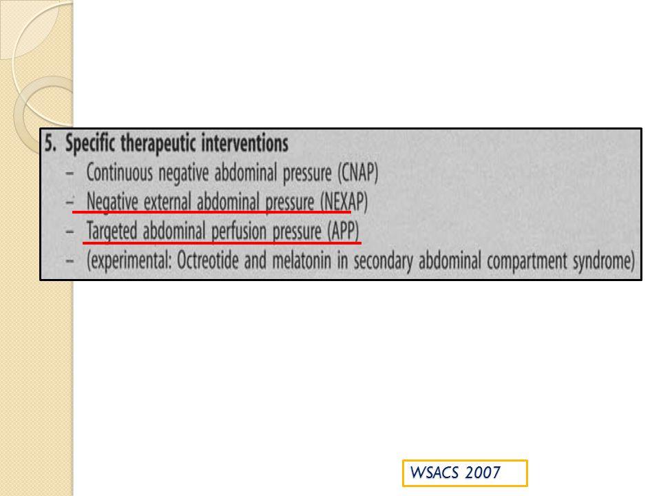 Maintien PPA à 50-60 mmHg en cas de HIA/SCA (grade 1C) PIA critique variable interindividuelle PPA prédit mieux la défaillance dorgane que le pH, lactates, PIA et a une valeur pronostic majeure Cheatham J Trauma 2000 Malbrain ML Yearbook of Intensive Care medecine 2002 La pertinence physiologique de la PPA et son impact thérapeutique font lobjet dune étude prospective contrôlée en cours (WCACS trial no 5)