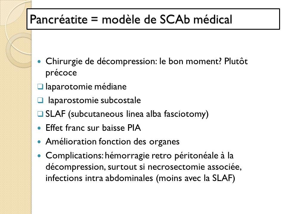 Chirurgie de décompression: le bon moment? Plutôt précoce laparotomie médiane laparostomie subcostale SLAF (subcutaneous linea alba fasciotomy) Effet