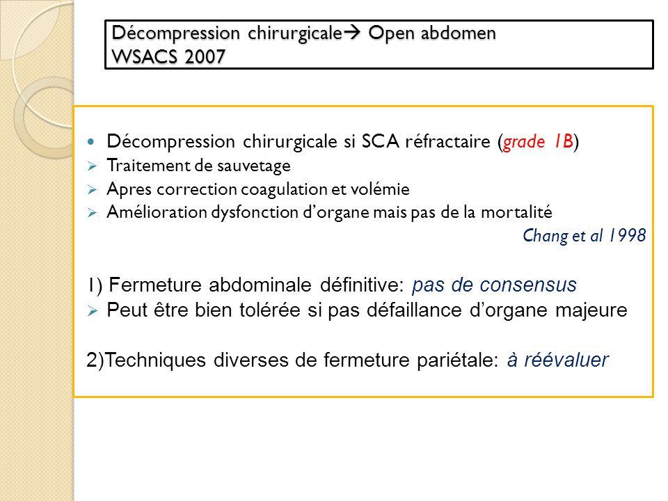 Incisions de décharge Incisions de décharge: aponévrotomies des muscles abdominaux laparotomie exploratrice Indications discutées Indications discutées selon létiologie suspectée du SCAb : aponévrotomies sans laparotomie si hématome rétro-péritonéal laparotomie pour un SCAb après traumatisme abdominal avec packing Décompression chirurgicale Open abdomen Damage contrôle surgery Fermeture de labdomen: partielle ou définitive (complète)