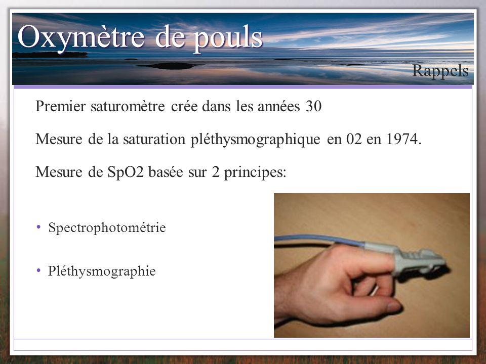 Oxymètre de pouls Premier saturomètre crée dans les années 30 Mesure de la saturation pléthysmographique en 02 en 1974. Mesure de SpO2 basée sur 2 pri